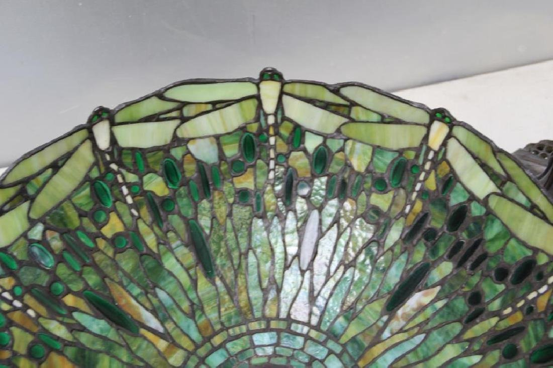 Quality Vintage Tiffany Style Leaded Glass Table. - 5