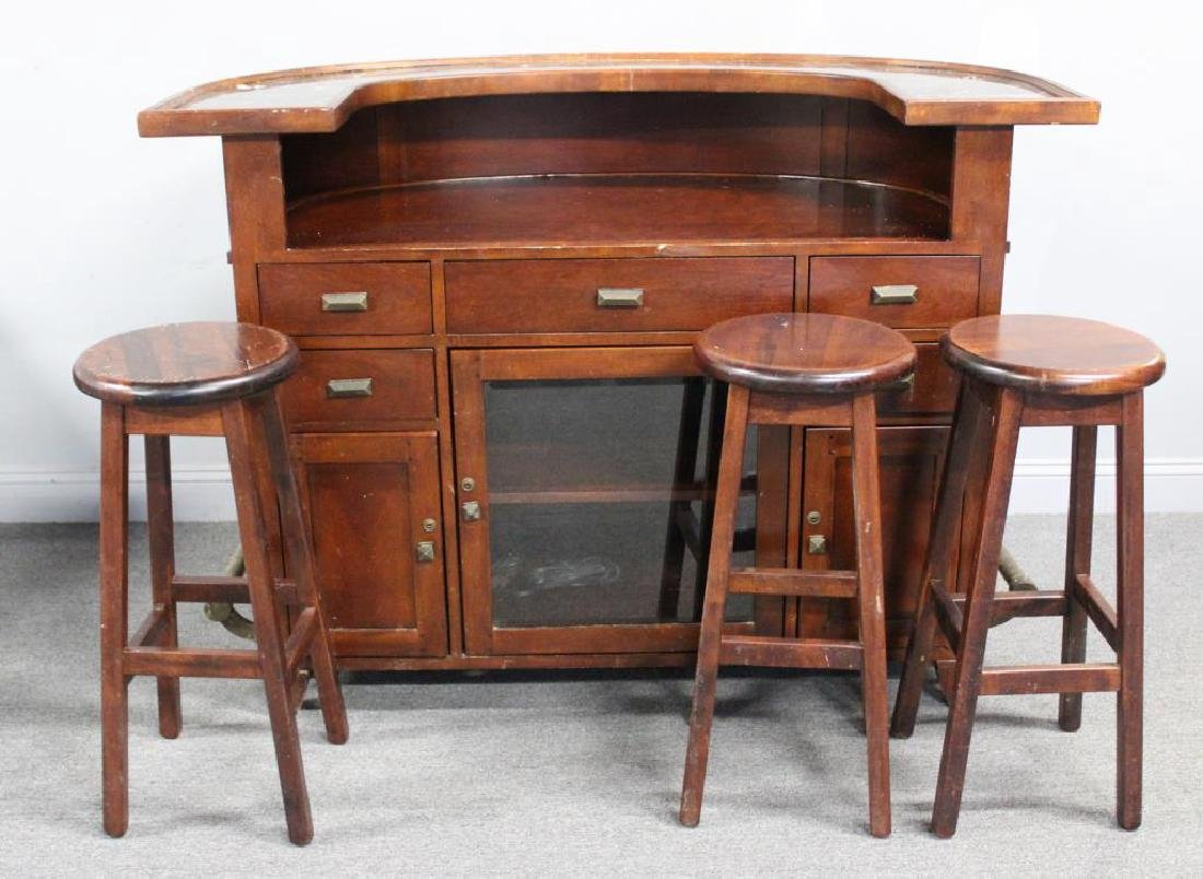 Art Deco Style Demilune Bar with Marble Top. - 2
