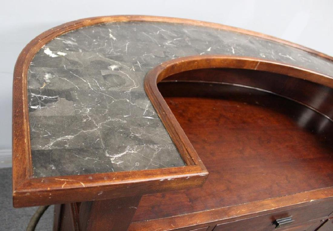 Art Deco Style Demilune Bar with Marble Top. - 4