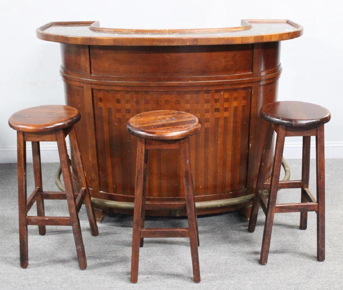 Art Deco Style Demilune Bar with Marble Top. - 8