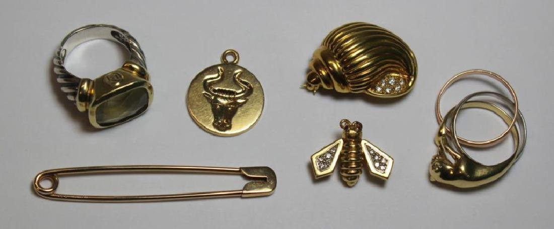 JEWELRY. Assorted Grouping of Gold Designer