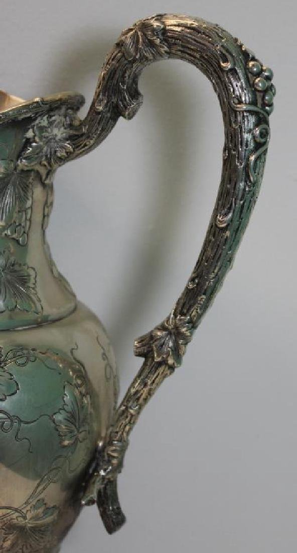 STERLING. Large Repousse Sterling Pedestal Pitcher - 5