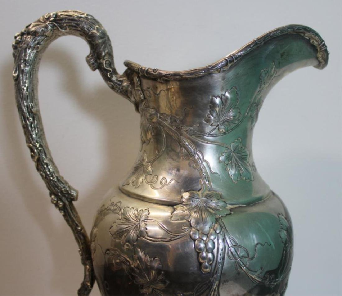 STERLING. Large Repousse Sterling Pedestal Pitcher - 7