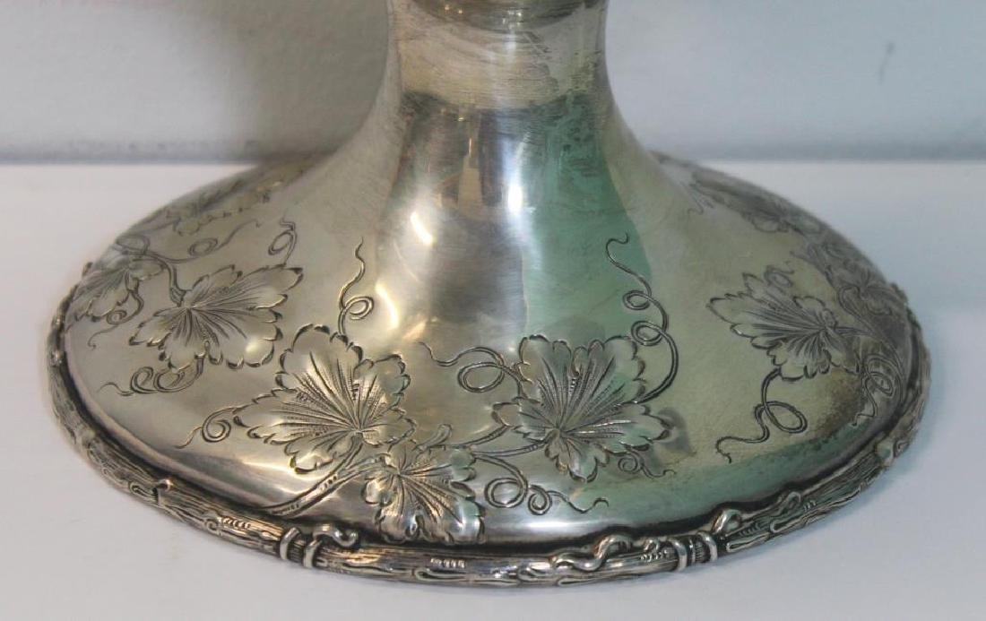 STERLING. Large Repousse Sterling Pedestal Pitcher - 8