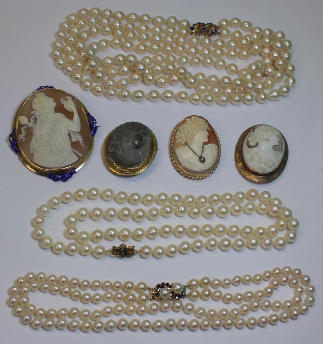 JEWELRY. Assorted Grouping of Pearls and Cameos.