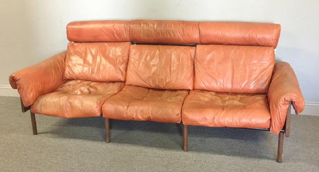 Midcentury Yrjo Kukkapura; Haimi Leather Sofa.
