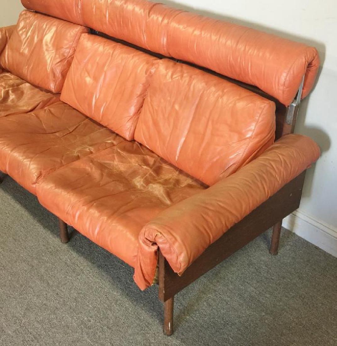 Midcentury Yrjo Kukkapura; Haimi Leather Sofa. - 2