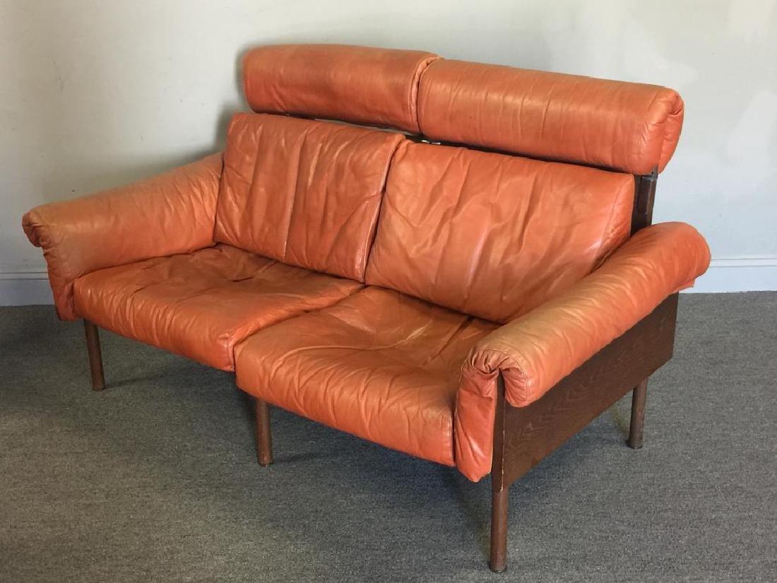 Midcentury Yrjo Kukkapuro; Haimi Leather Settee. - 2