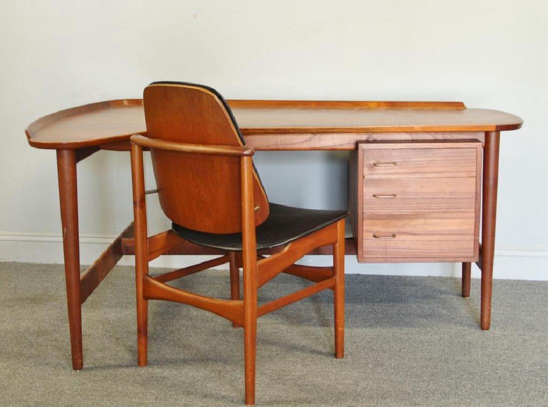 Danish Arne Vodder Teak Desk with Desk Chair.