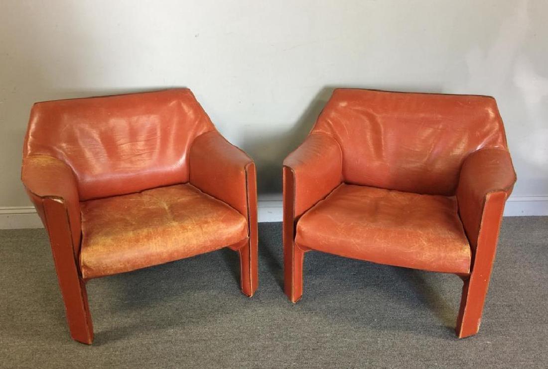 Mario Bellini; Cassina 425 Cab Lounge Chairs.
