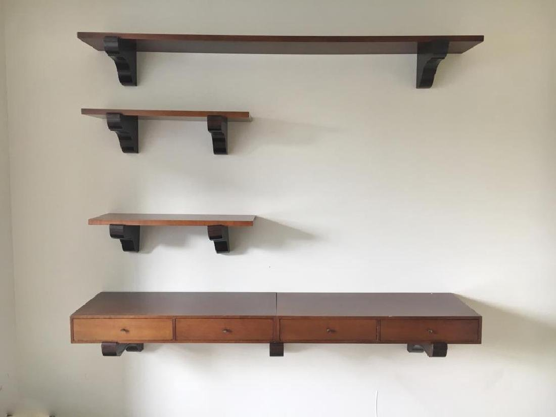 Harvey Probber; Directional Wall Mounted Shelves.