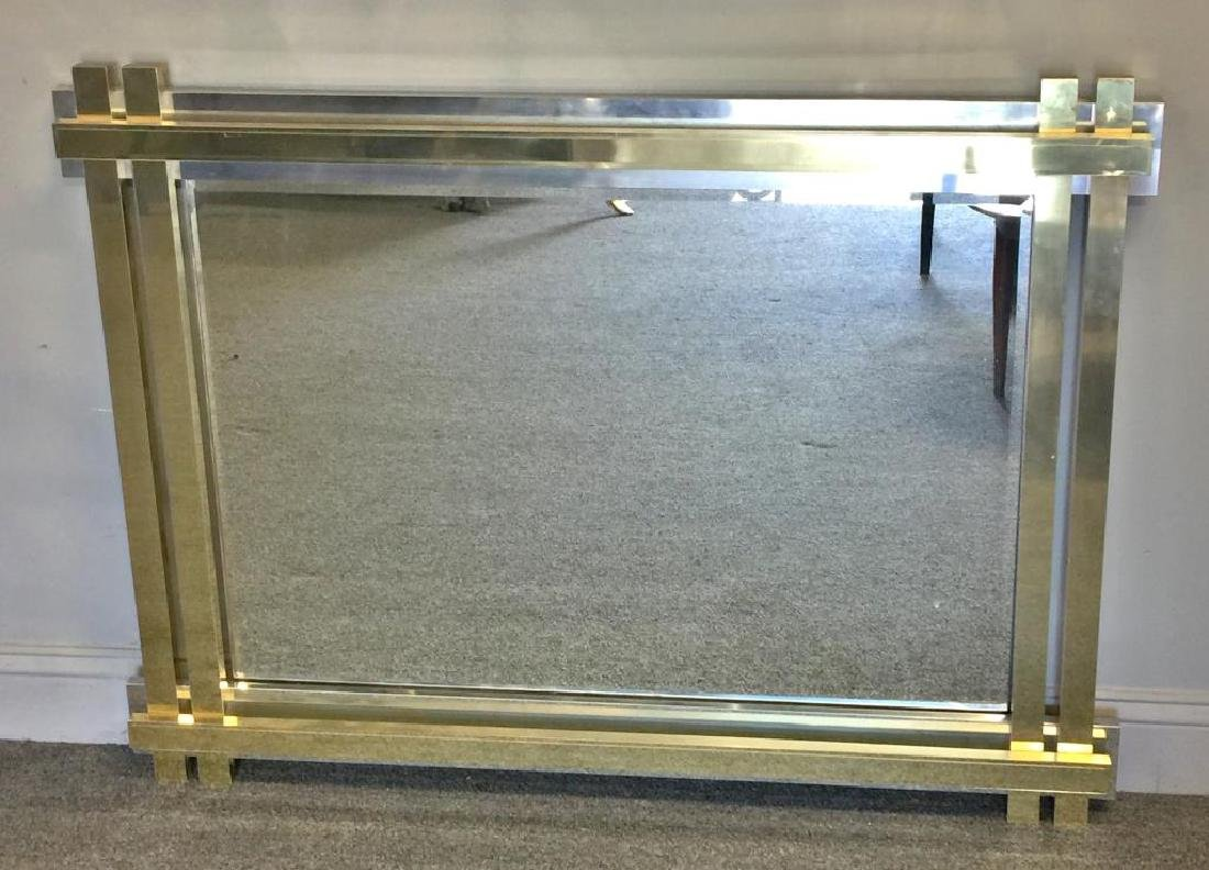 Paul Evans Style Brass and Chrome Frame Mirror.