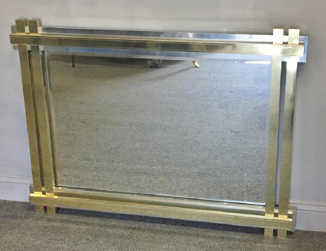 Paul Evans Style Brass and Chrome Frame Mirror. - 5