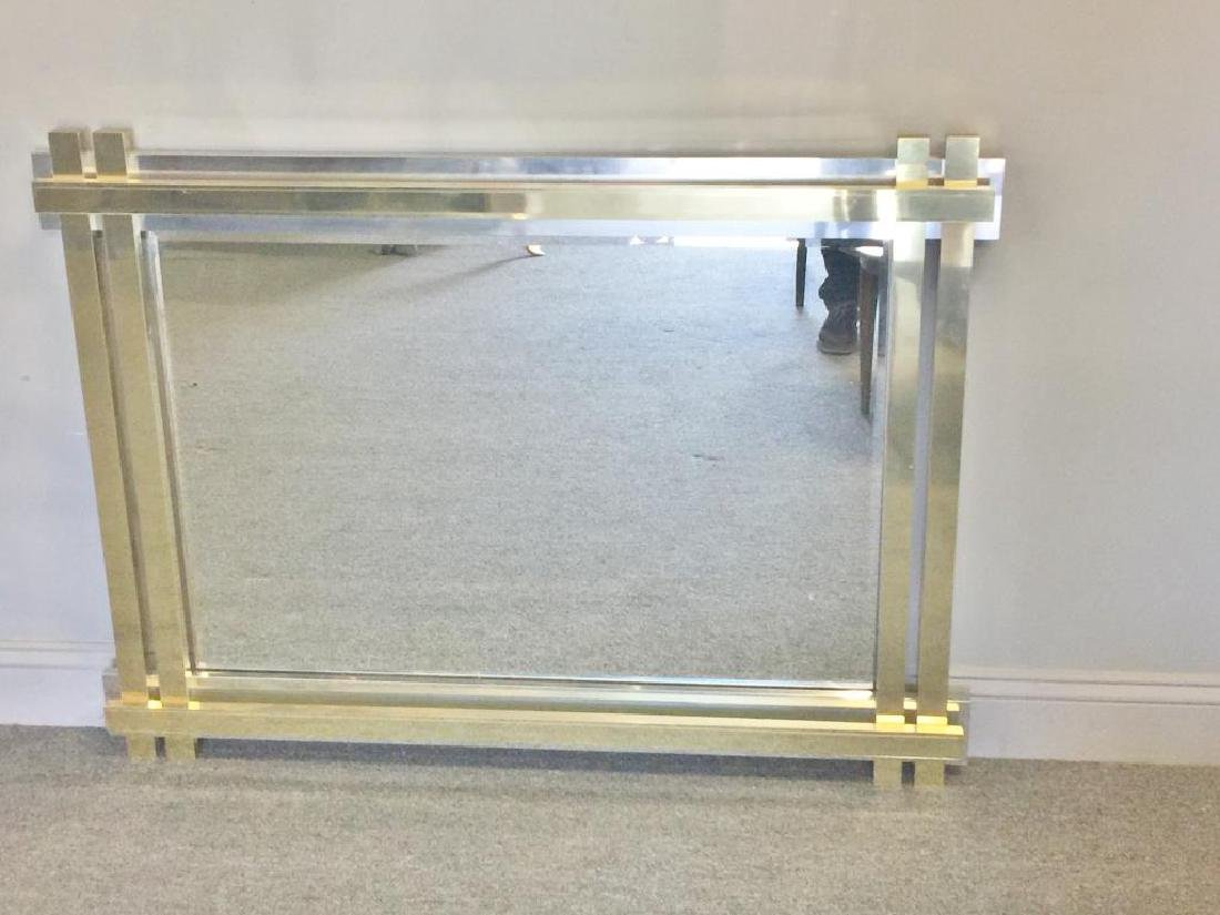 Paul Evans Style Brass and Chrome Frame Mirror. - 6
