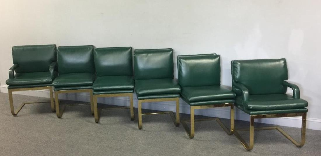 Set of 6 1970s Brass & Upholstered Dining Chairs.