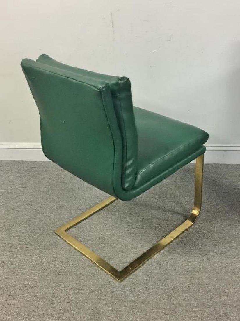 Set of 6 1970s Brass & Upholstered Dining Chairs. - 3