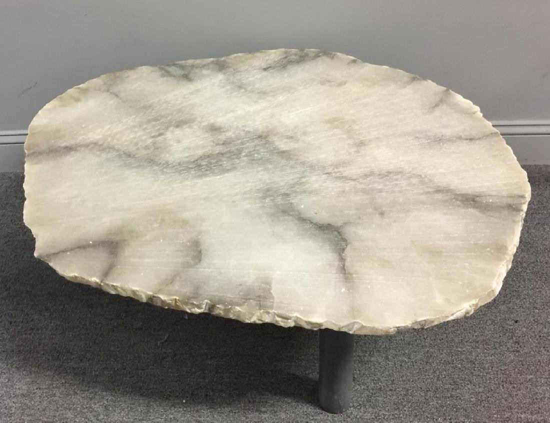 Modernist Stone Slab Top Coffee Table.