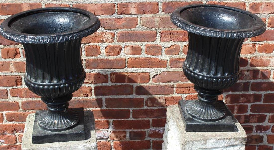 Pair of Cast Iron Urns on Painted Portland Bases. - 3