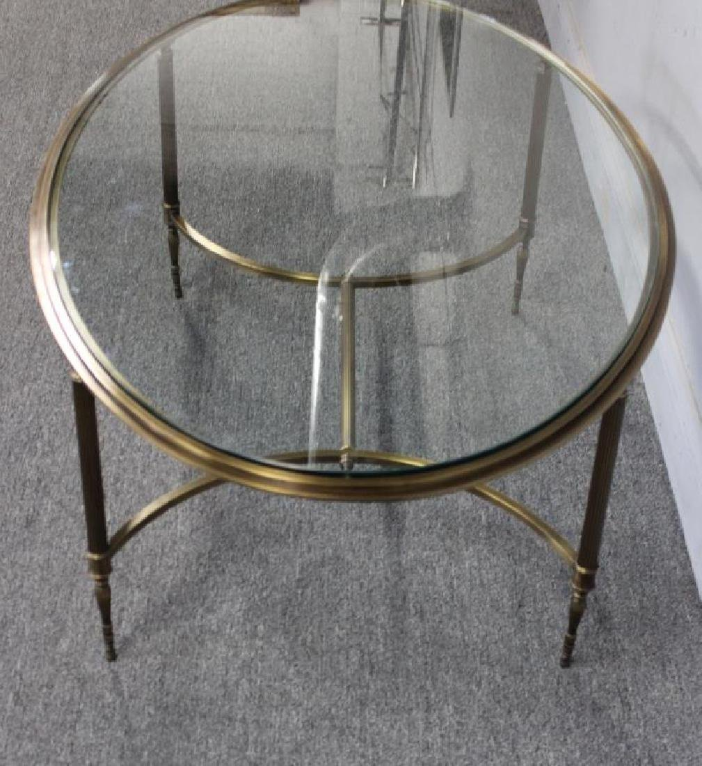 Oval Brass Cocktail Table with Glass Top. - 4