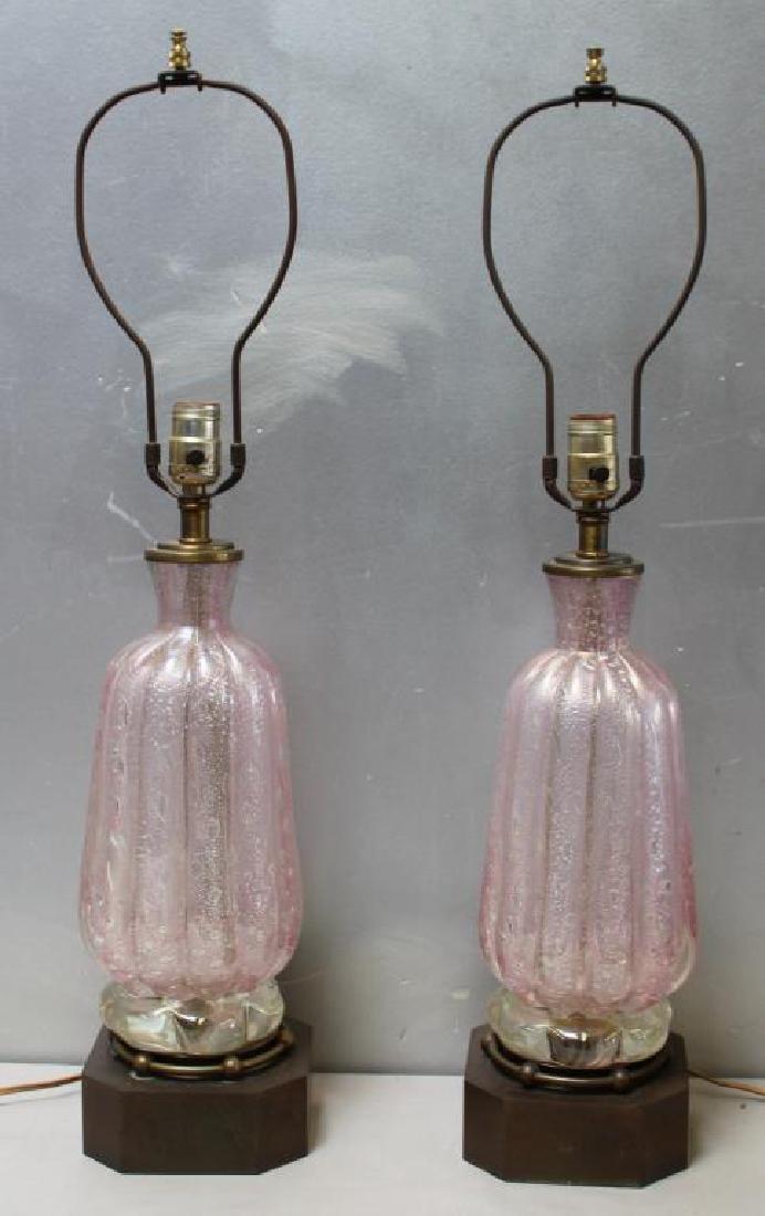 Midcentury Pair of Fine Seguso? Murano Lamps.