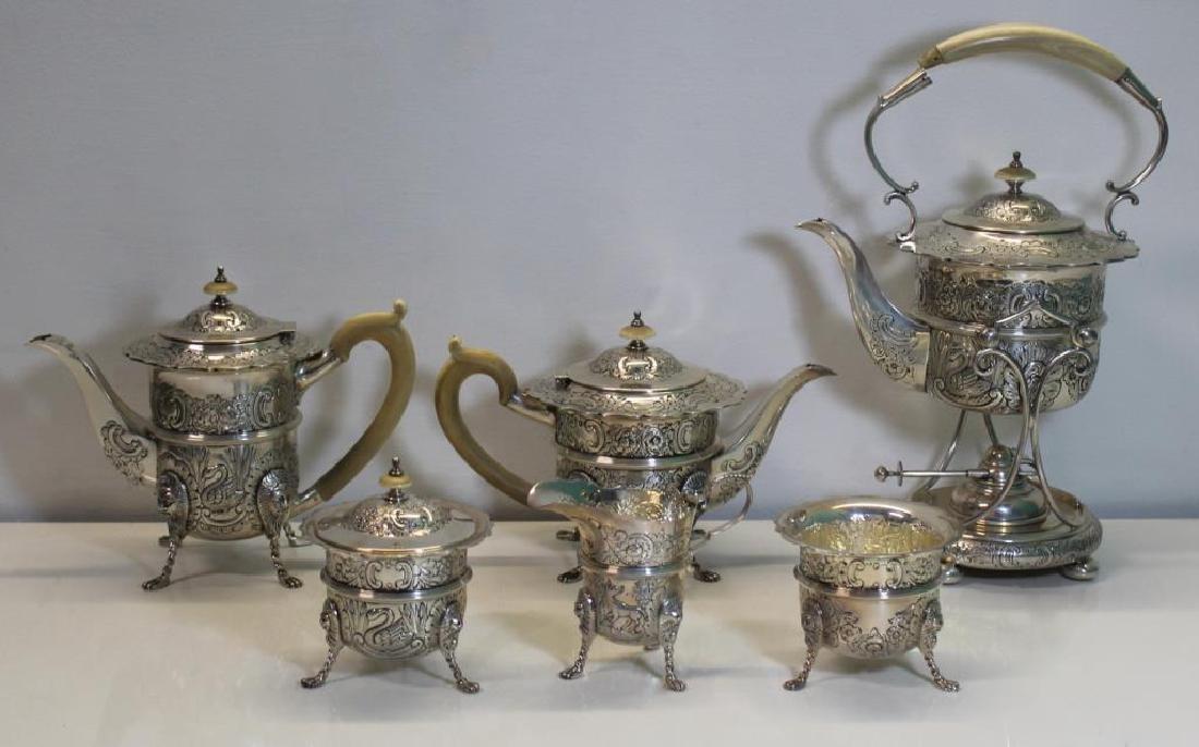 STERLING. Antique English 6 Piece Tea Service.