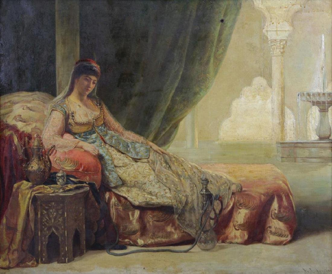 "19th Century. Orientalist Oil on Canvas ""The Harem"