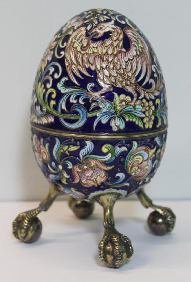 SILVER. Russian Enamel Egg with Ball and Claw Feet