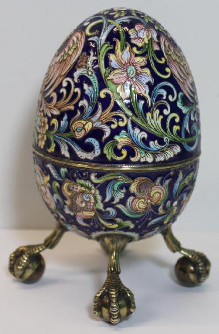 SILVER. Russian Enamel Egg with Ball and Claw Feet - 4