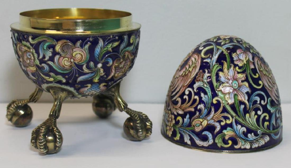 SILVER. Russian Enamel Egg with Ball and Claw Feet - 5