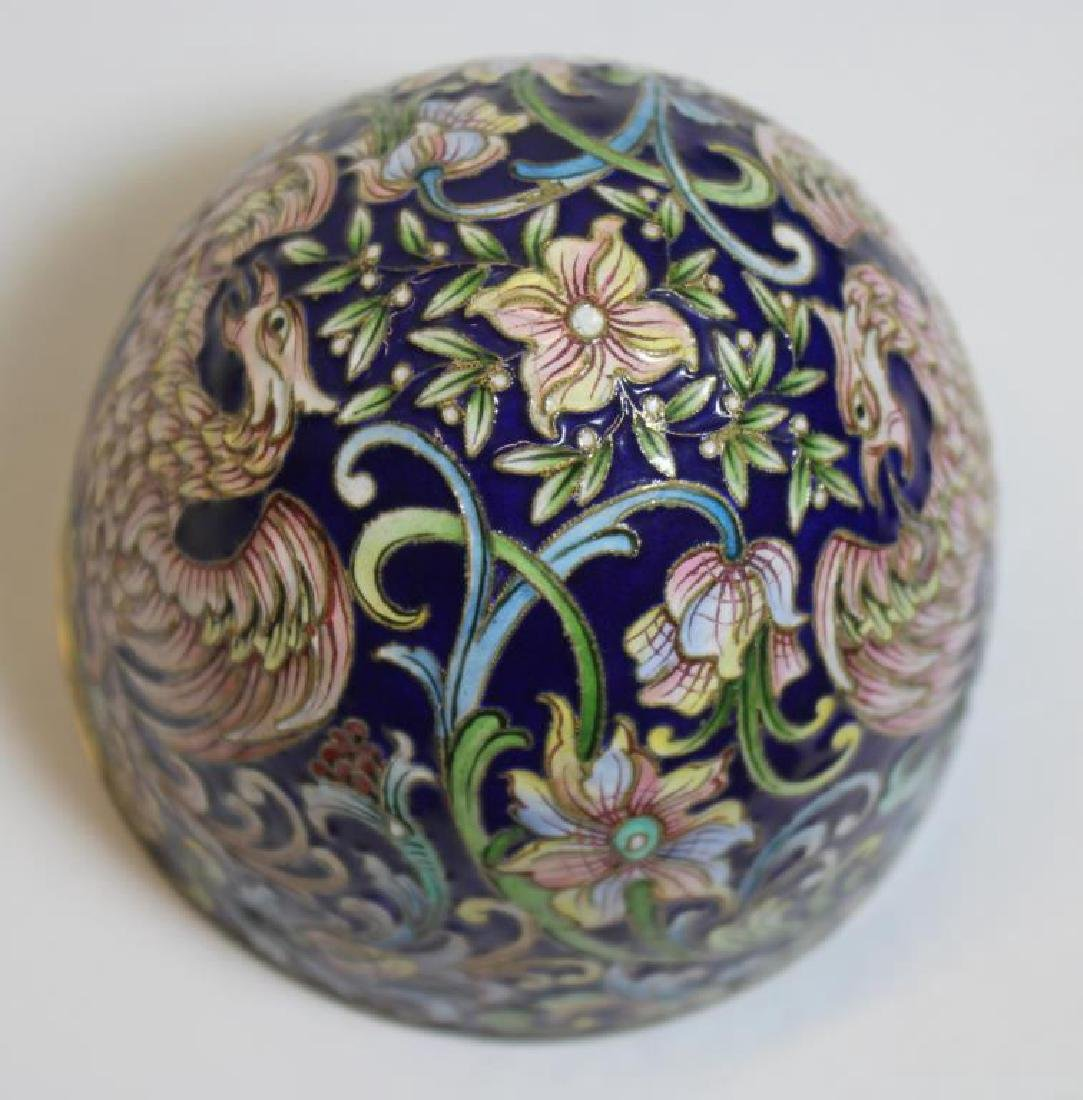 SILVER. Russian Enamel Egg with Ball and Claw Feet - 7