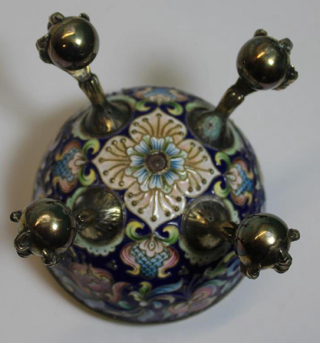 SILVER. Russian Enamel Egg with Ball and Claw Feet - 9