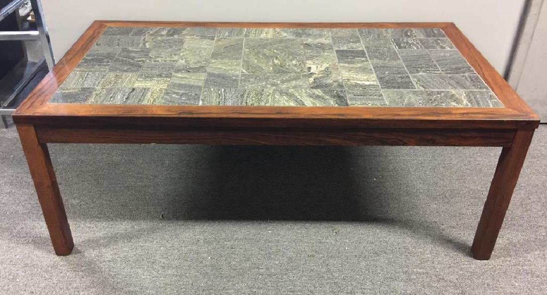 Midcentury Danish Rosewood and Stone Coffee Table