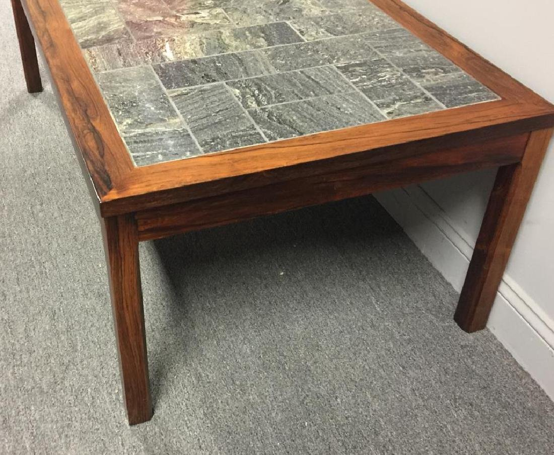 Midcentury Danish Rosewood and Stone Coffee Table - 3