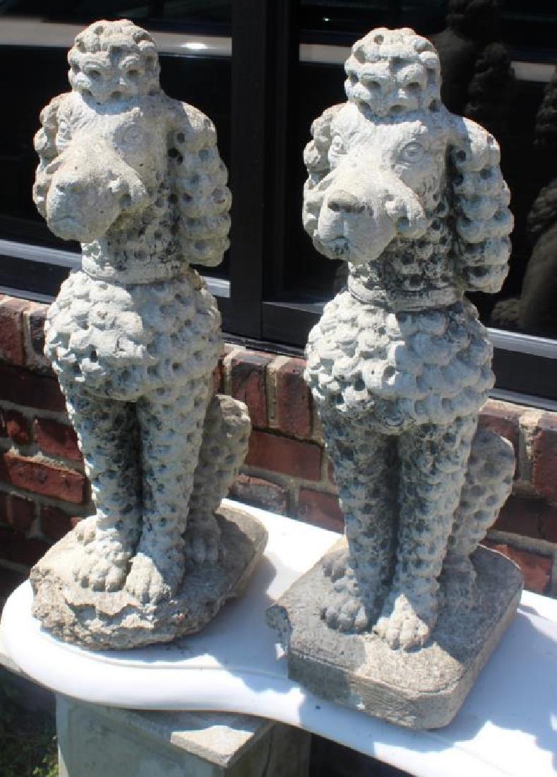 Pair of Decorative Cast Cement Poodle Statues. - 2