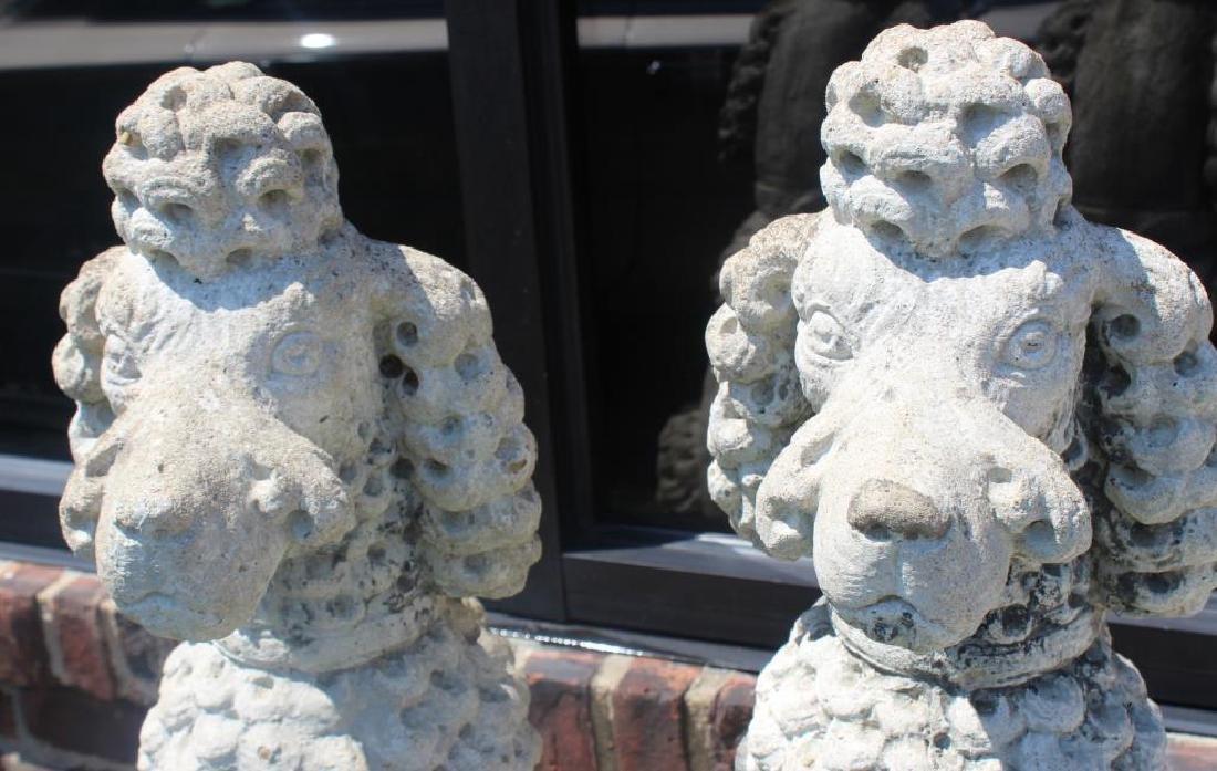 Pair of Decorative Cast Cement Poodle Statues. - 4