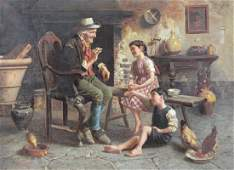 "ZERMATI, Jules. Oil on Canvas. ""Grandfather's"