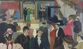 STROMBERG J Oil on Canvas Street Scene 1966