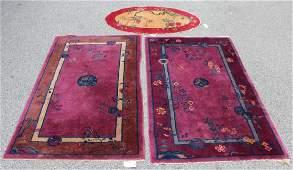 3 Chinese Art Deco Throw Rugs