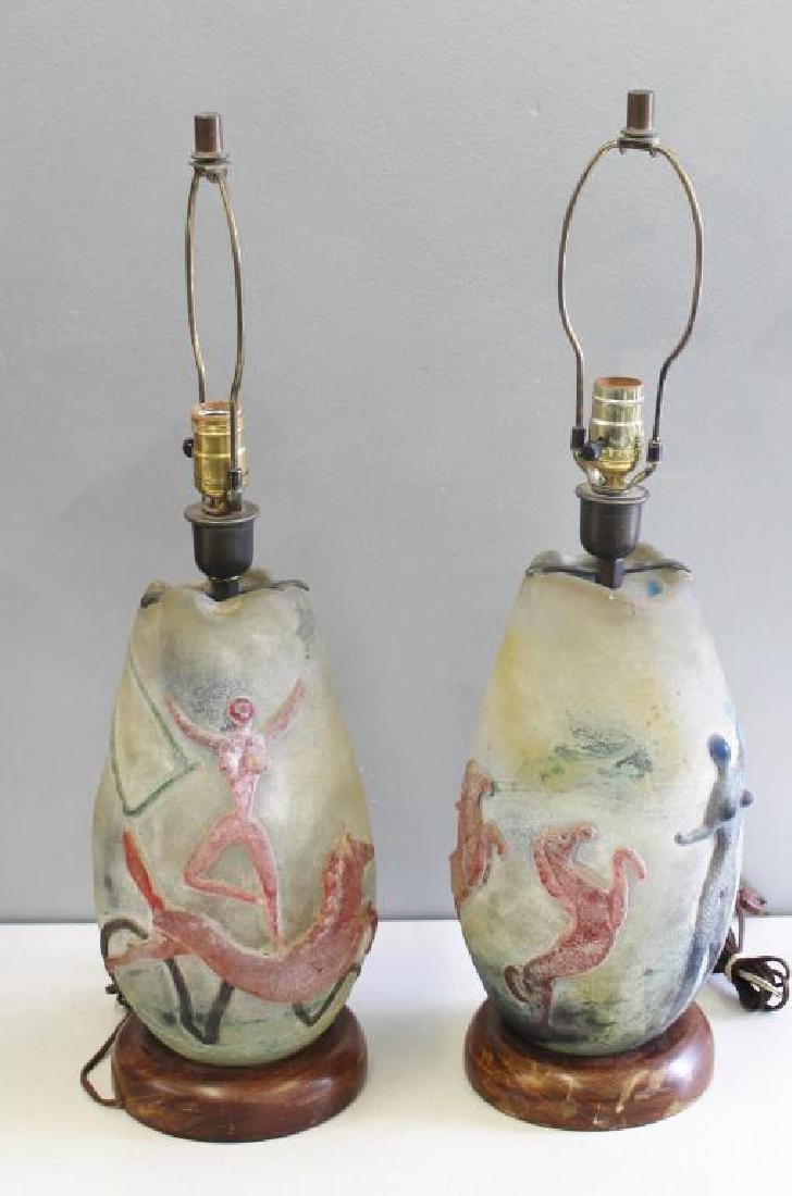 Pair of Midcentury Murano Scavo Glass Lamps.