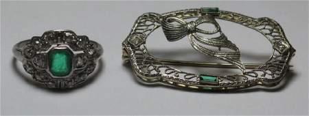 JEWELRY. Antique Emerald and Diamond Jewelry.