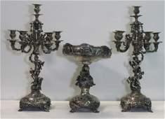 SILVER. Antique Austrian Silver Garniture Set.