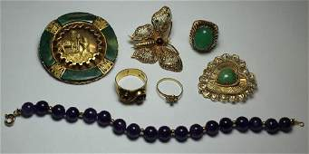 JEWELRY Assorted Gold Jewelry Grouping with Gems