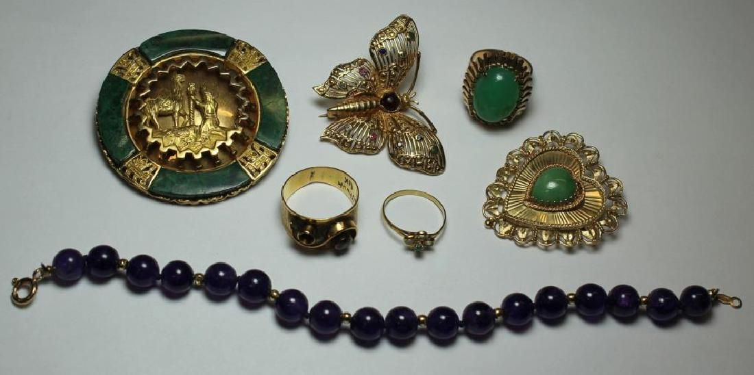 JEWELRY. Assorted Gold Jewelry Grouping with Gems.