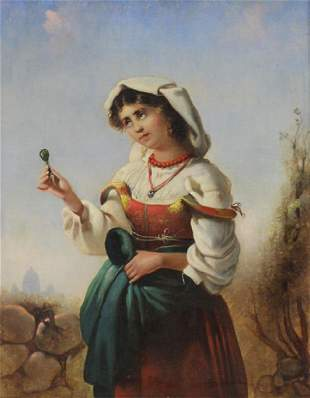 Italian School 19th C Oil on Canvas Peasant