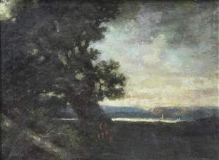 18th19th C Oil on Canvas Landscape with Figures