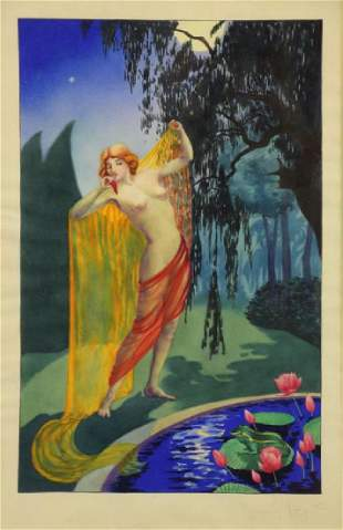 Manner of Louis Icart Watercolor on Paper Nude