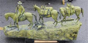 Monumental Patinated Metal Sculpture Of a