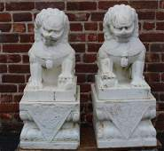 A Vintage Pair of Marble Foo Lions on Marble