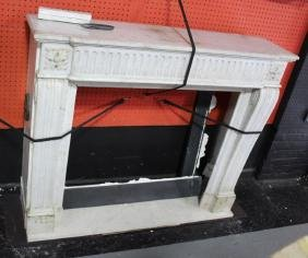 Antique Carved White Marble Fireplace.