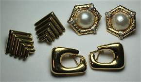 JEWELRY Ladies Gold Earring Grouping.